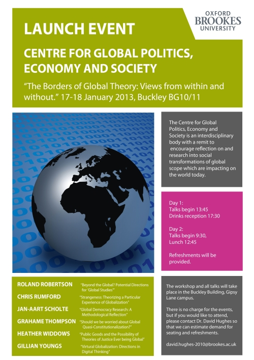'The Borders of Global Theory: Views from within and without' at Oxford Brookes University